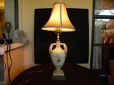GERMANY HAND PAINTED RUDOLSTADT TABLE URN DOUBLE HANDLE FLORAL LAMP LIGHT