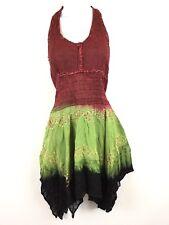 S Fashion Terminal Halter Dress Tie Dye Embroidered Hippie Boho Festival NWT $43