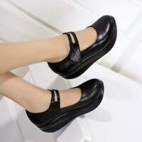 Women's Mid Heels Round Toe Mary Jane Leather Pumps Wedge Shoes Platform Sandals