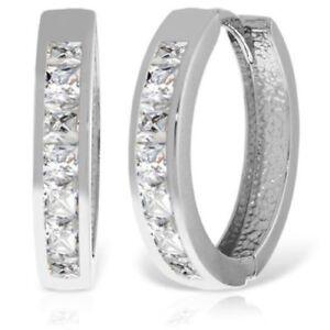 Genuine Princess Cut White Topaz Gemstones Huggie Hoops Earrings 14K. Solid Gold