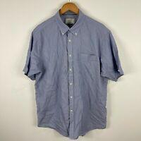 Gazman Mens Button Up Shirt XL Extra Large Blue Short Sleeve Collared