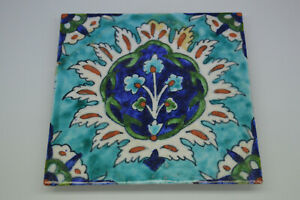 a good old antique Middle Eastern Iznik style pottery tile Acanthus c.1900's