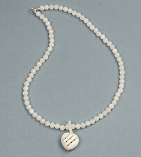 2 in 1 deal! Jade heart pendant on jade beaded silver necklace - NKL370006