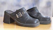 """Vtg HARLEY DAVIDSON Clogs Shoes Boots Size 8.5 Black Leather Upper 3"""" Heel"""