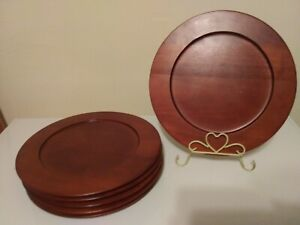 Pier 1 Imports Thailand Wooden Polished Chargers lot (6)