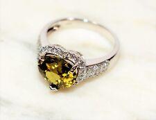 Romantic GIA Certified 4.03tcw Demantoid Garnet & Diamond 14kt White Gold Ring
