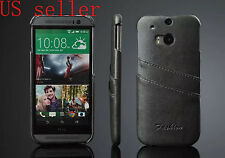Luxury PU Leather Ultra Thin Credit Card Holder HTC ONE M8 Back Cover Case