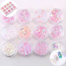 Moon 12Pots Sequins Glitters Half Mermaid Star Pearls Laser Decor 3D Nail Art