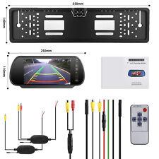 """170° Wireless Nummernschild Rückfahrkamera+7 """"LCD Rückspiegel Bildschirm Monitor"""