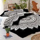 Indian Black Duvet Doona Cover Mandala Hippie Bohemian + 2 pillow Cover Blanket{