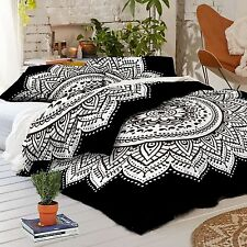Indian Black Duvet Doona Cover Mandala Hippie Bohemian + 2 pillow Cover Blanket{