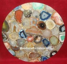 Beautiful Gemstone Agate Coffee Table Top, Semi Precious Agate Stone Table Tops