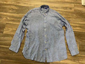NWT mens Ralph Lauren XL Shades Of Blue & White Classic gingham L/S shirt $125