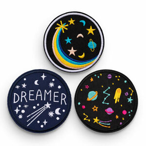 Dreamer Space Star Moon Embroidery Sew On Iron on Patches Badge Fabric Applique