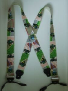"""X 1 1/2"""" &  2"""" Green Tractor Mens Suspenders BUTTON ON USA Made"""