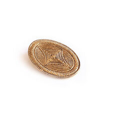 LADIES SCARF RING METAL CLIP - VINTAGE GOLD TONE OVAL SHAPED ORNATE DESIGN