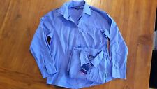 Glo Weave Womens Blue pin stripe button up career Shirts sz14 BNWT free post E1