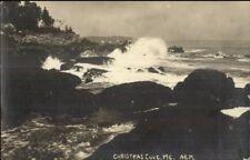 Christmas Cove ME Rocks & Surf c1920 Real Photo Postcard