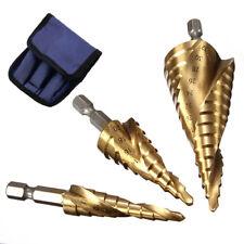 3Pcs Large HSS Speed Steel Step Cone Drill Titanium Bit Set Hole Cutter Plated