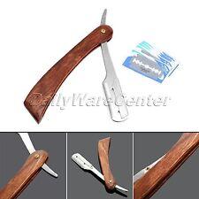Rosewood Handle Folding Razor with 10 Blades Straight Edge Barber Shaving Knife
