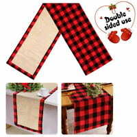 Buffalo Plaid & Burlap Christmas Table Runner Reversible Christmas Table Decor