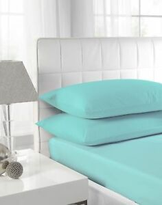 DUCK EGG 100% Poly Cotton Plain Bed Fitted Sheet or Pillow Case All Sizes