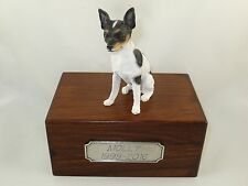 Beautiful Paulownia Small Wooden Personalized Urn With Rat Terrier Figurine