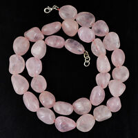 559.00 CTS NATURAL RICH PINK ROSE QUARTZ UNTREATED BEADS SINGLE STRAND NECKLACE