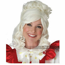 Adult Women's Mrs. Claus Christmas Curly White Holiday Costume Wig And Bun