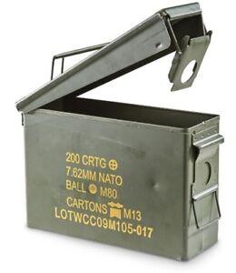AMMO BOX CAN .30 CAL AMMUNITION BOX  STEEL FULLY SEALED EX MILITARY ARMY
