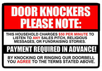 No Soliciting sign Decal Sticker $50 per minute Door Knockers Funny window 9.3""