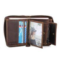 RFID Genuine Leather Men's ID Wallet Card Holder Coin Pocket Zipper Bifold Purse