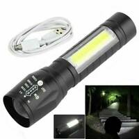 Portable T6 COB LED Tactical USB Rechargeable Zoomable Flashlight Torch Lamp JK