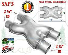 """SXP3 Mild Steel Exhaust X Pipe Adapter Connector 2 1/4"""" Dual to 2.25"""" Dual"""