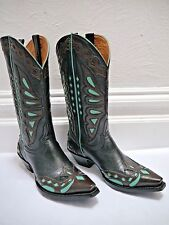 NEW OLD GRINGO black brown turquoise inlayed leather cowboy boots size 7