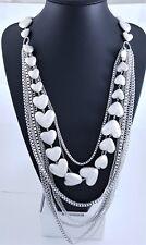 Matt Silver Box Chain Puffy Hearts & Multi Chain Design Long Lagenlook Necklace