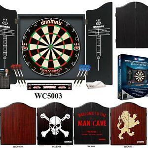 WINMAU PROFESSIONAL Dart Board SET DIAMOND PLUS 2 x sets of Darts Cabinet