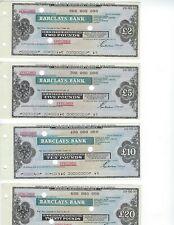 BARCLAYS BANK  TWO SETS  SPECIMEN TRAVELERS CHECKS STERLING & DOLLARS  NICE MINT