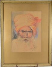 Dessin en aquarelle - portrait de Veillard - signé et daté 1929