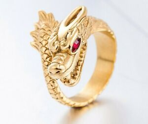 Unique Vintage Style Gold Dragon Stainless Steel Ring For Men/ Women Size 8-12