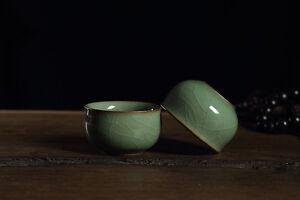 2pcs/lot Chinese tea cup porcelain Pu'er cup brother kiln craft ceramic cup tea