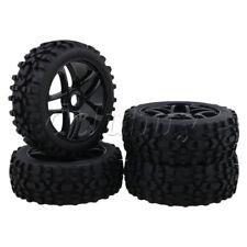 4pcs RC1:8 Off-Road Car Rhombus Pattern Tyre + 5 Spoke Wheel Rim Black