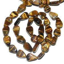 NG1516 Golden Tiger's Eye Handcut 9x7mm Flat Teardrop Natural Gemstone Beads 16""