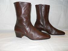 NEW VTG MORESCHI Cuban Heel, Brown Womens Leather boots Size 8.5 9 US 10.5 EU 42