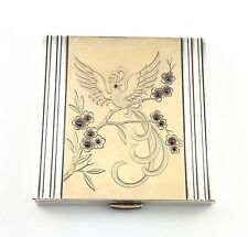 French Art Deco Mid Century Sterling Silver Box W/ Cabochon Ruby