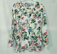 ESPRIT Womens M White Multicolor Floral Viscose Blouse Long Sleeve Button UP