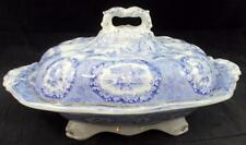 Ridgway ORIENTAL (BLUE, GOLD TRIM) Oval Covered Vegetable Bowl GOOD CONDITION