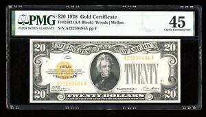 DBR 1928 $20 Gold Certificate Fr. 2402 PMG 45 Serial A23230494A
