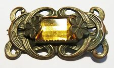 Vintage Victorian Brooch Pin Brass Filigree with Large Yellow Stone Beautiful!