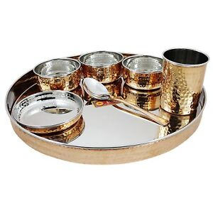 Indian Dinnerware Stainless Steel Copper Traditional Dinner Set Of Thali Plate